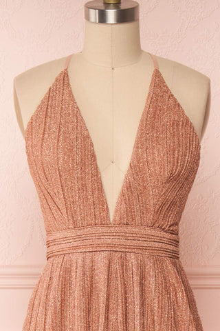 Arnemande Rosegold Pleated Gown w/ Glitters front close up | Boutique 1861