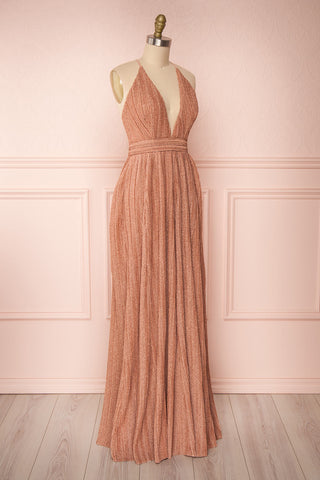 Arnemande Rosegold Pleated Gown w/ Glitters side view | Boutique 1861
