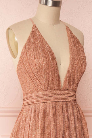 Arnemande Rosegold Pleated Gown w/ Glitters side close up | Boutique 1861