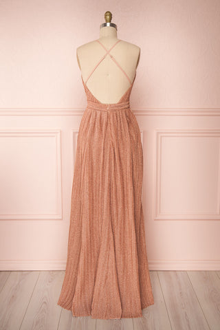 Arnemande Rosegold Pleated Gown w/ Glitters back view | Boutique 1861