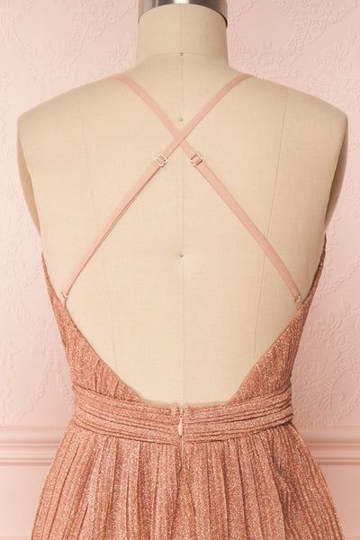 Arnemande Rosegold Pleated Gown w/ Glitters back close up | Boutique 1861