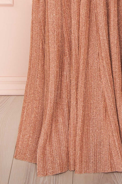 Arnemande Rosegold Pleated Gown w/ Glitters skirt | Boutique 1861