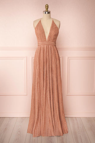 Arnemande Rosegold Pleated Gown w/ Glitters | Boutique 1861