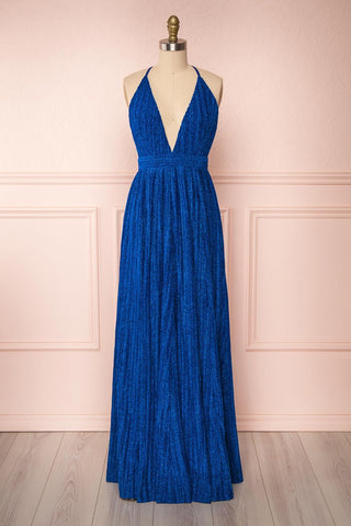 Arnemande Royal Blue Pleated Gown w/ Glitters | Boutique 1861
