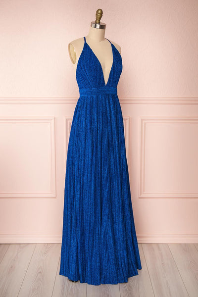 Arnemande Royal Blue Pleated Gown w/ Glitters side view | Boutique 1861