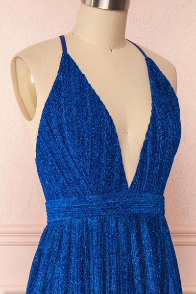 Arnemande Royal Blue Pleated Gown w/ Glitters side close up | Boutique 1861