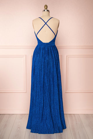 Arnemande Royal Blue Pleated Gown w/ Glitters back view | Boutique 1861