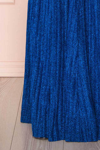 Arnemande Royal Blue Pleated Gown w/ Glitters skirt | Boutique 1861