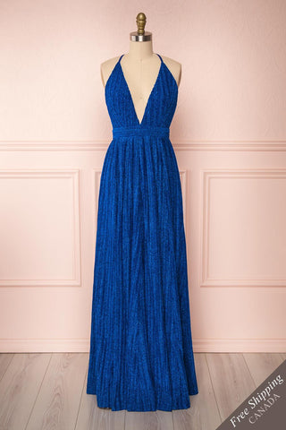 Arnemande Royal Blue Pleated Gown w/ Glitters front view FS | Boutique 1861