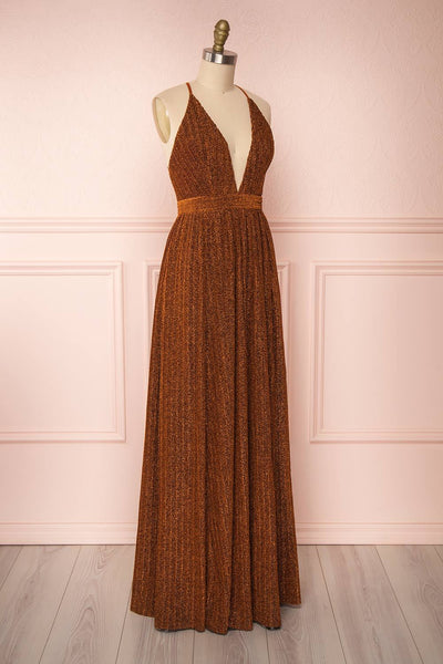 Arnemande Rust Pleated Gown w/ Glitters side view | Boutique 1861