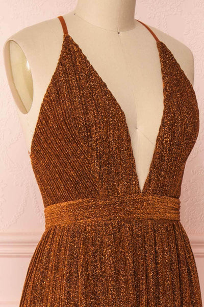 Arnemande Rust Pleated Gown w/ Glitters side close up | Boutique 1861