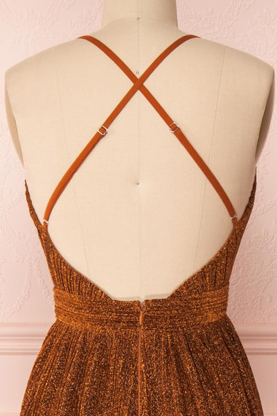 Arnemande Rust Pleated Gown w/ Glitters back close up | Boutique 1861
