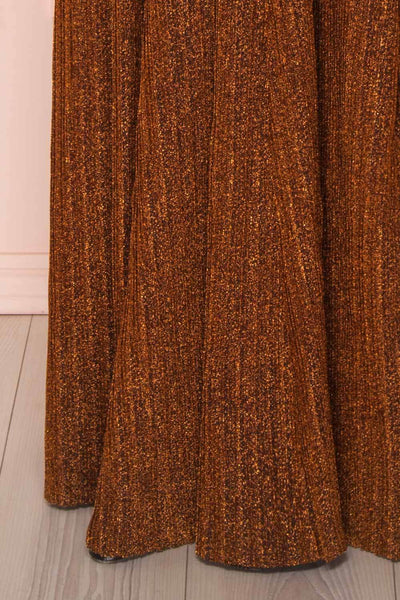 Arnemande Rust Pleated Gown w/ Glitters skirt | Boutique 1861