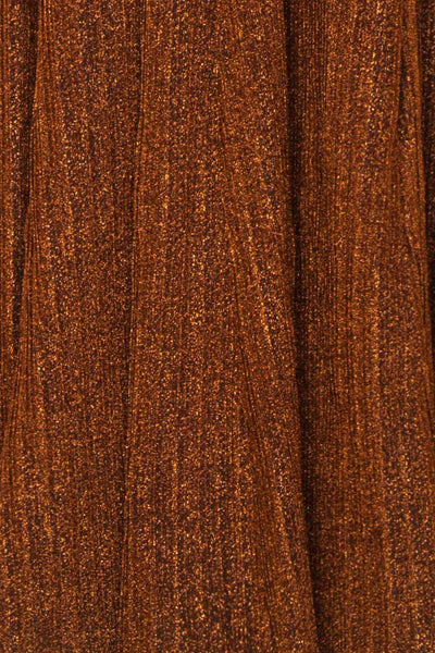 Arnemande Rust Pleated Gown w/ Glitters fabric | Boutique 1861