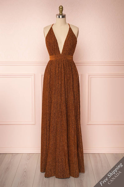 Arnemande Rust Pleated Gown w/ Glitters front view FS | Boutique 1861