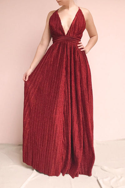 Arnemande Red Pleated Gown w/ Glitters | Boutique 1861 on model