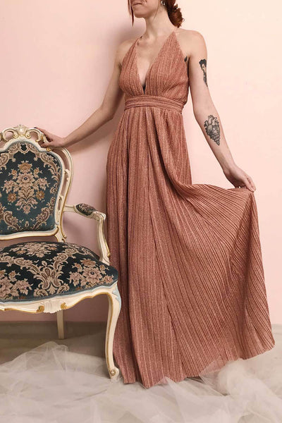 Arnemande Rust Pleated Gown w/ Glitters | Boutique 1861 on model