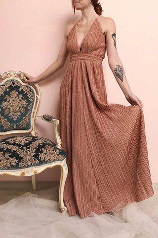 Arnemande Rosegold Pleated Gown w/ Glitters | Boutique 1861 on model