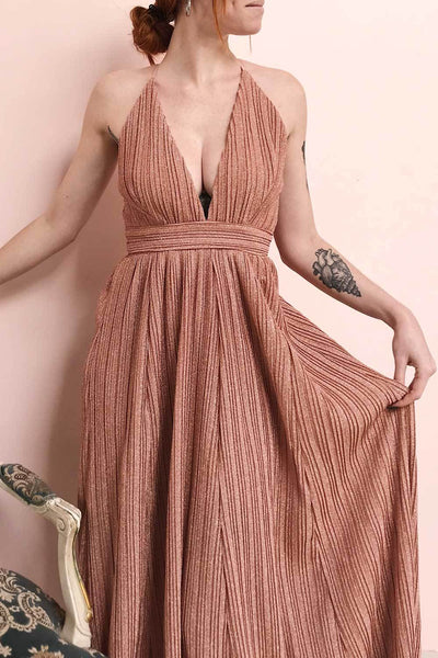 Arnemande Rosegold Pleated Gown w/ Glitters | Boutique 1861 model close up