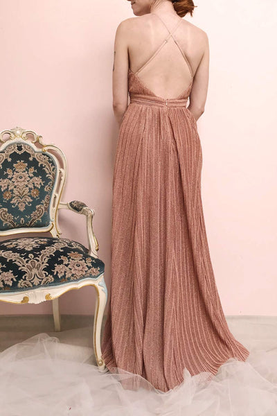 Arnemande Rust Pleated Gown w/ Glitters | Boutique 1861 model back