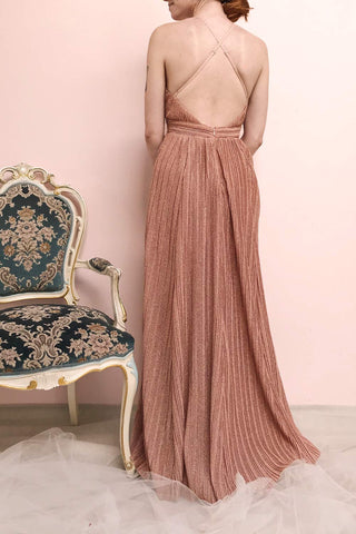 Arnemande Rosegold Pleated Gown w/ Glitters | Boutique 1861 model back