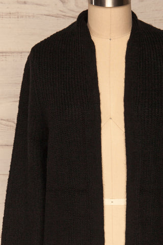 Arnhem Anis Black Knit Cardigan w/ Pockets | La Petite Garçonne front close-up