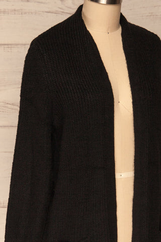 Arnhem Anis Black Knit Cardigan w/ Pockets | La Petite Garçonne side close-up