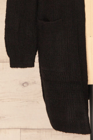 Arnhem Anis Black Knit Cardigan w/ Pockets | La Petite Garçonne bottom close-up