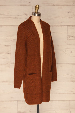 Arnhem Muscade Brown Knit Cardigan w/ Pockets | La Petite Garçonne side view