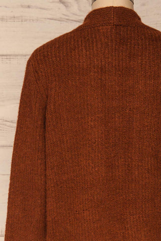 Arnhem Muscade Brown Knit Cardigan w/ Pockets | La Petite Garçonne back close-up