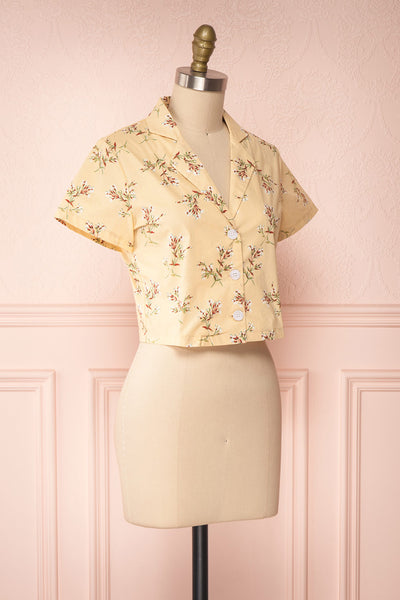 Arnleif Beige Floral Buttoned Crop Top | Boutique 1861 side view