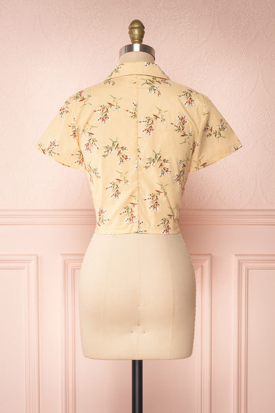 Arnleif Beige Floral Buttoned Crop Top | Boutique 1861 back view