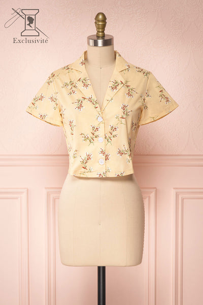Arnleif Beige Floral Buttoned Crop Top | Boutique 1861 front view
