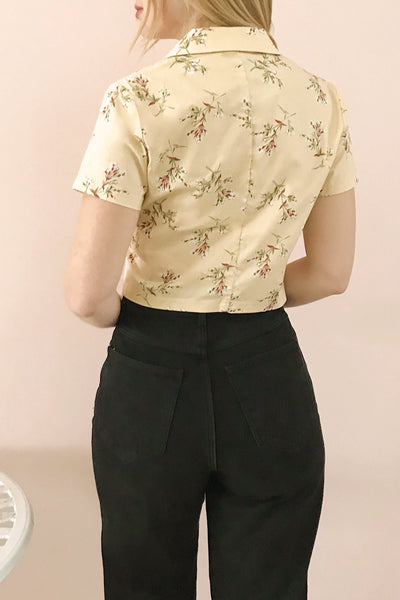 Arnleif Beige Floral Buttoned Crop Top | Boutique 1861 model back