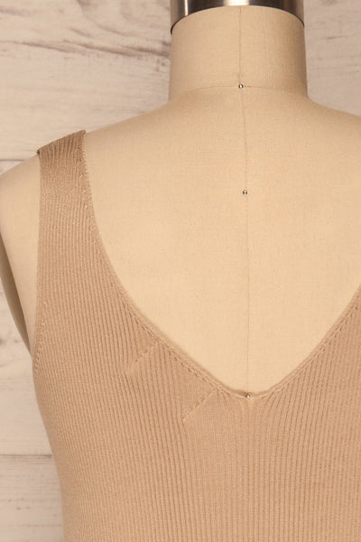 Arriphe Beige Ribbed Cami w/ Buttons | La petite garçonne back close up