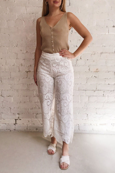 Sokaina White Crocheted Lace Cropped Trousers | Boudoir 1861 on model