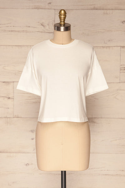 Arvika Chalk White Cotton Cropped T-Shirt | La Petite Garçonne front view