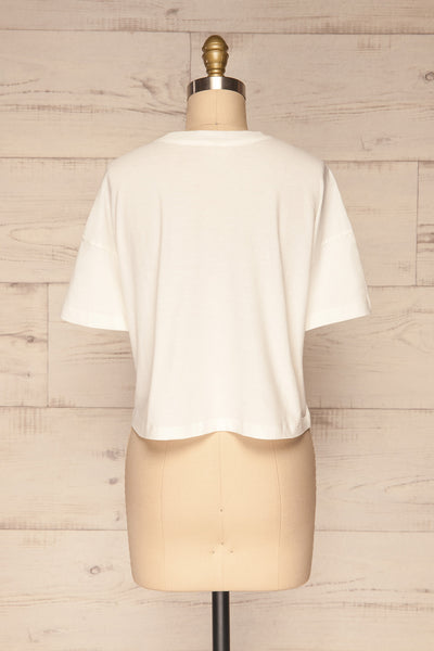 Arvika Chalk White Cotton Cropped T-Shirt | La Petite Garçonne back view