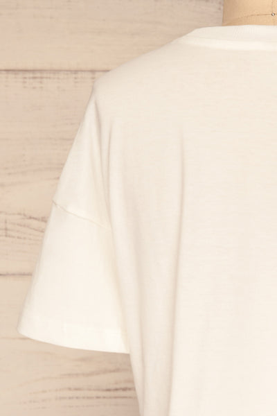 Arvika Chalk White Cotton Cropped T-Shirt | La Petite Garçonne  back close-up