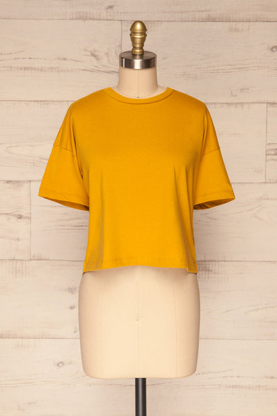 Arvika Wheat Yellow Cotton Cropped T-Shirt | La Petite Garçonne front view