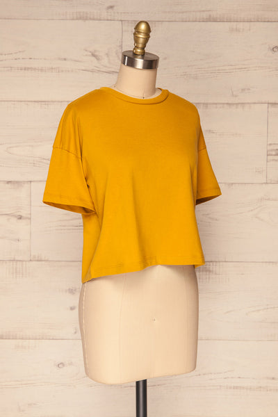 Arvika Wheat Yellow Cotton Cropped T-Shirt | La Petite Garçonne side view