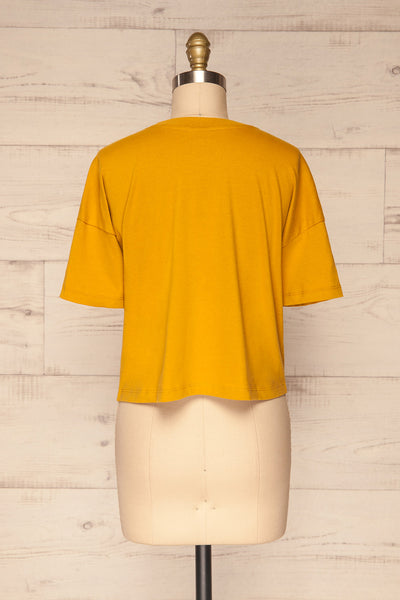 Arvika Wheat Yellow Cotton Cropped T-Shirt | La Petite Garçonne back view