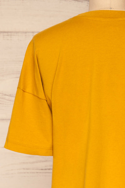 Arvika Wheat Yellow Cotton Cropped T-Shirt | La Petite Garçonne back close-up