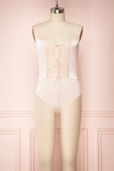 Asakura Light Pink Satin & Lace Bodysuit | Boutique 1861