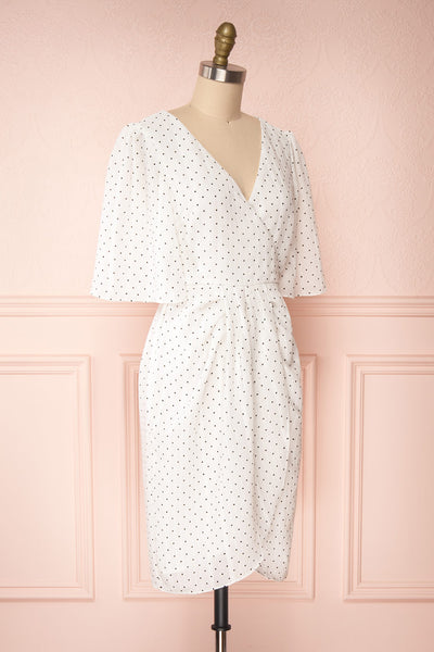 Asceline White Short Dress w/ Polka Dots | Boutique 1861 side view