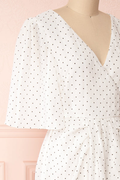 Asceline White Short Dress w/ Polka Dots | Boutique 1861 side close-up