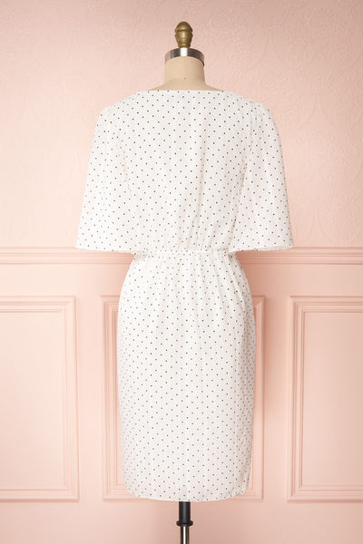 Asceline White Short Dress w/ Polka Dots | Boutique 1861 back view