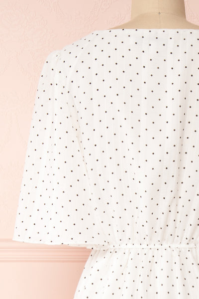 Asceline White Short Dress w/ Polka Dots | Boutique 1861 back close-up