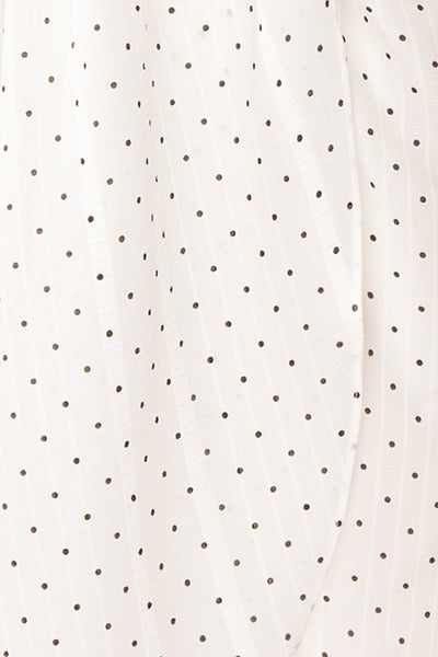 Asceline White Short Dress w/ Polka Dots | Boutique 1861 fabric details