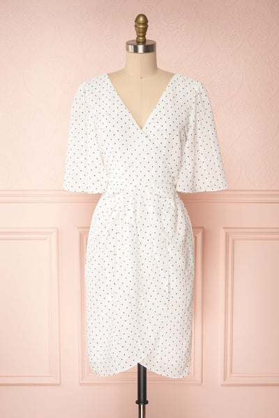 Asceline White Short Dress w/ Polka Dots | Boutique 1861